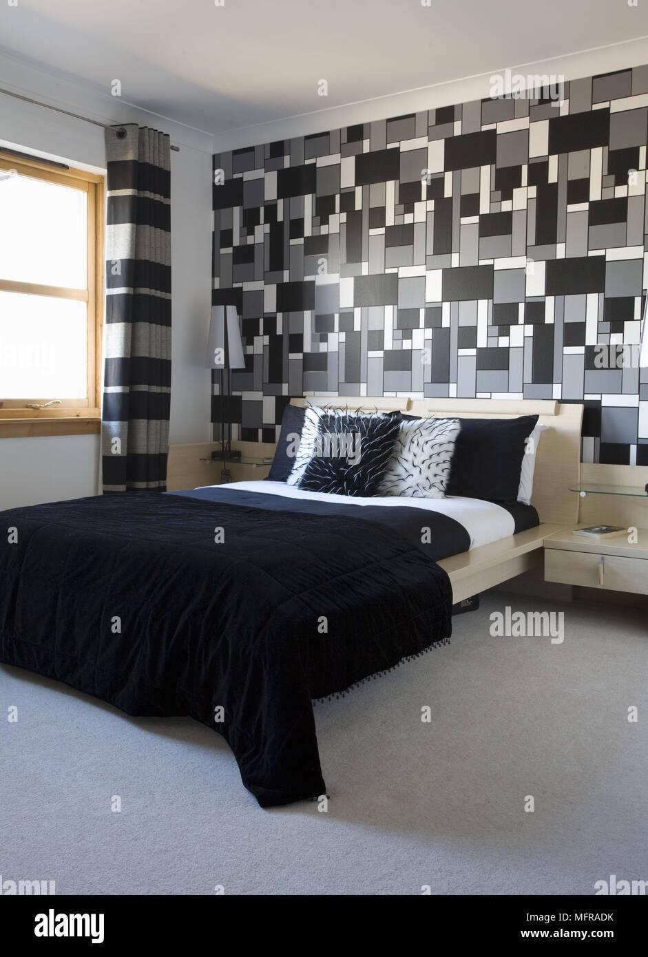 Camera Da Letto Bianca E Nera legno letto matrimoniale con costruito nel comodino in