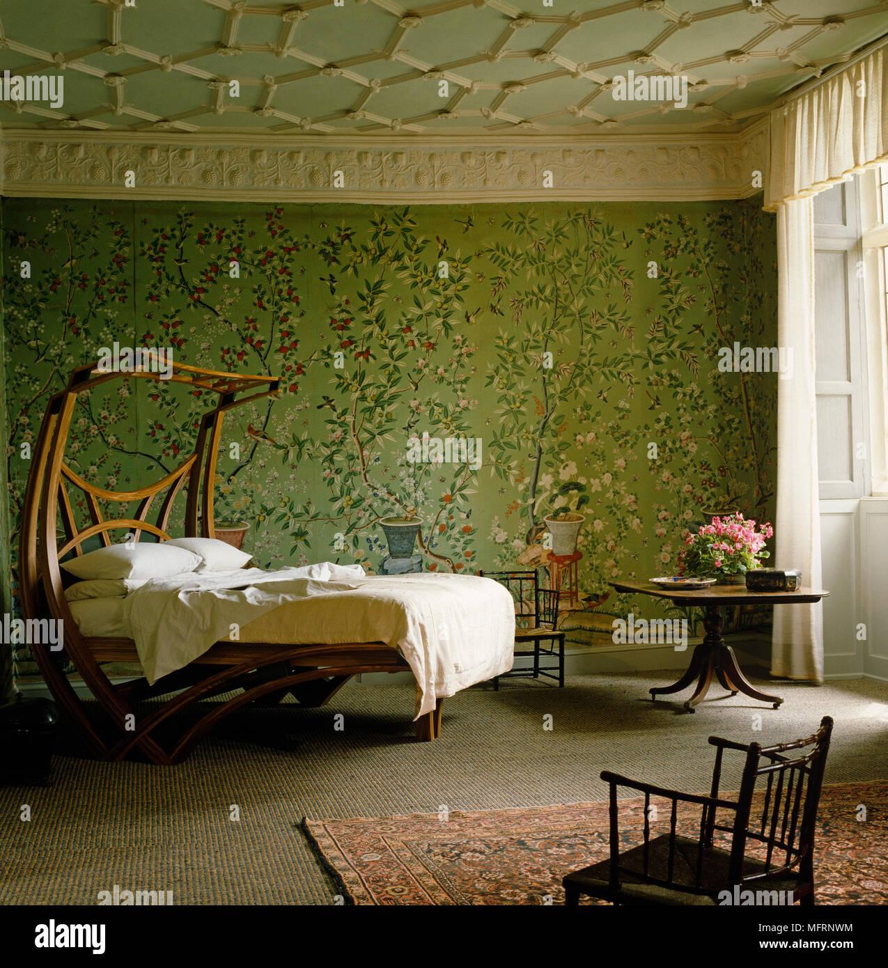 Camera Letto Carta Parati artigianato in legno in stile letto in camera verde con