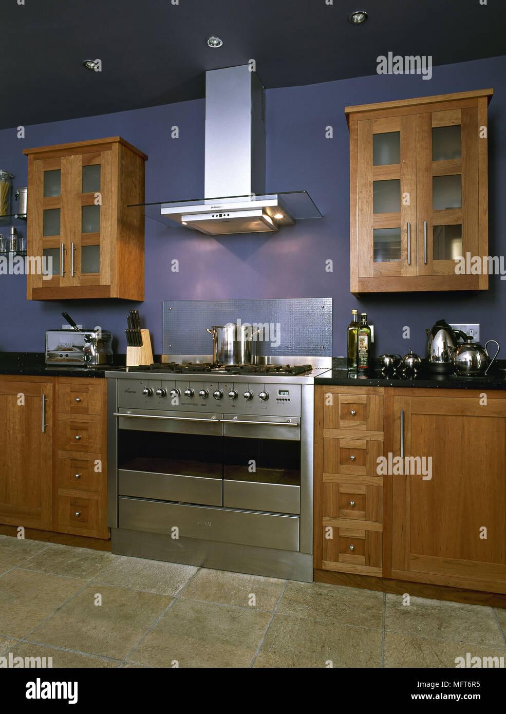 Acciaio inossidabile termocucina in cucina con pareti blu e legno di ...