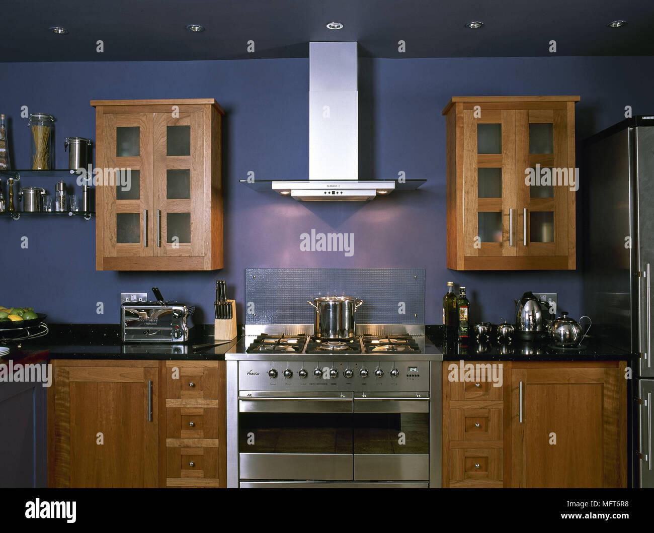 Cucina In Ciliegio Moderna : Moderna cucina blu dettaglio legno di ciliegio unità in acciaio