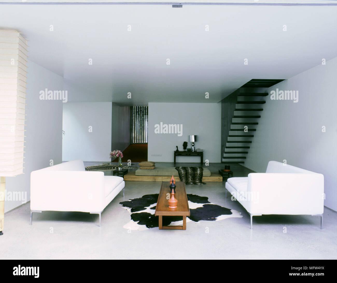 Salotto Bianco In Pelle.Moderno Bianco Minimalista Salotto Con Divani Di Abbinamento