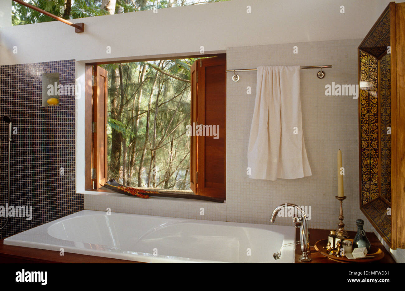 Vasca Da Bagno Sotto Finestra : Vasca sotto finestra nel bagno aperto agli elementi foto