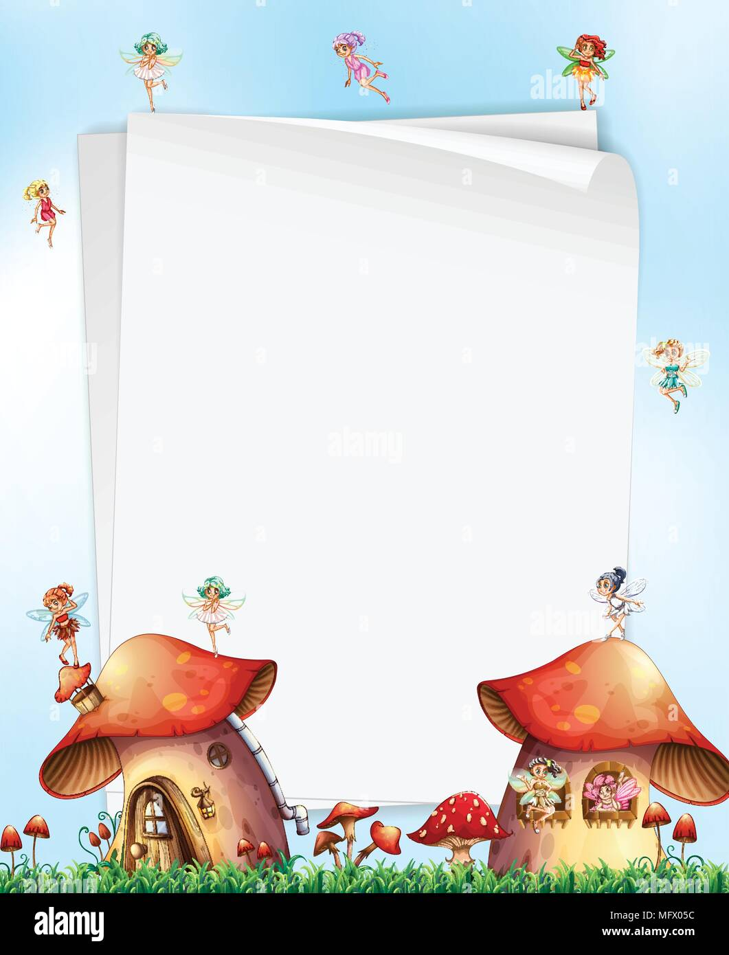 Casa a fungo con le fatine illustrazione del modello illustrazione