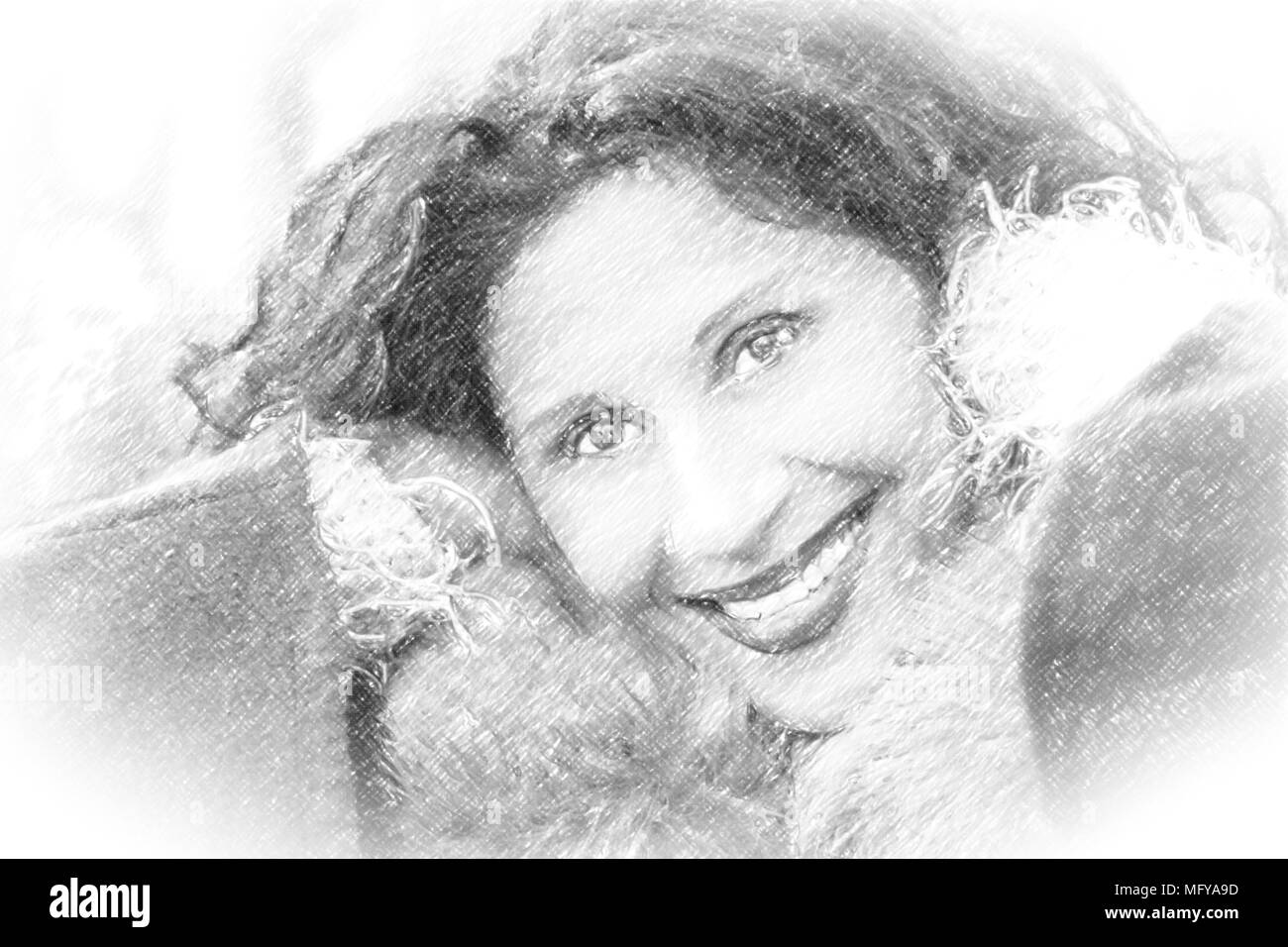 Disegno A Matita Di Un Bel Sorriso Donna Matura Caucasiche Ma Con L