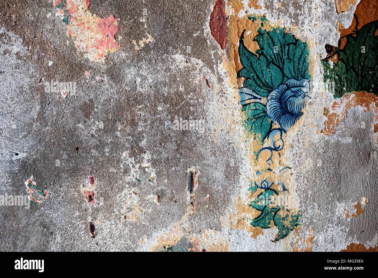 Pittura Cemento Design : Gli obsoleti thai arte pittura su parete in cemento foto & immagine