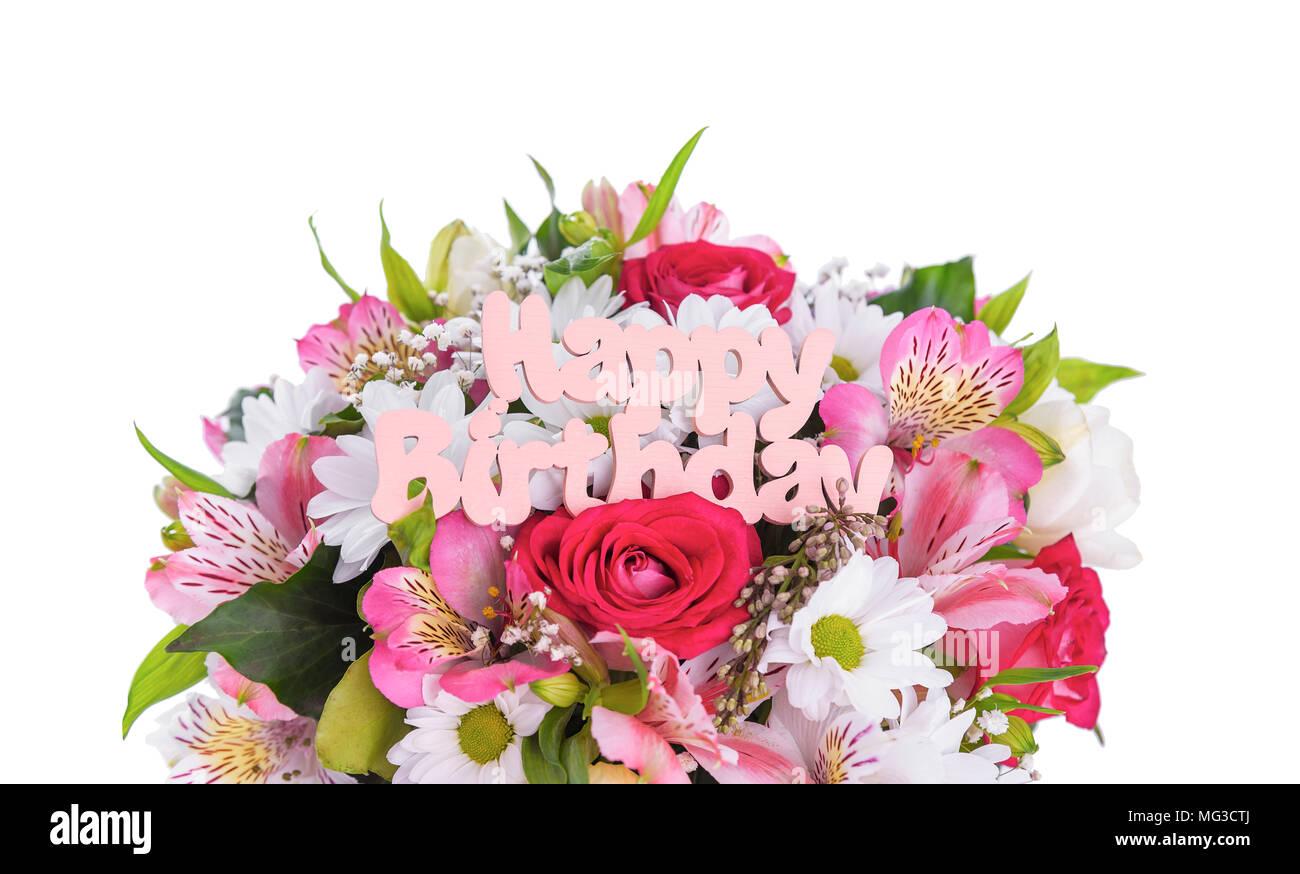 Iscrizione E Buon Compleanno Sui Fiori Foto Immagine Stock