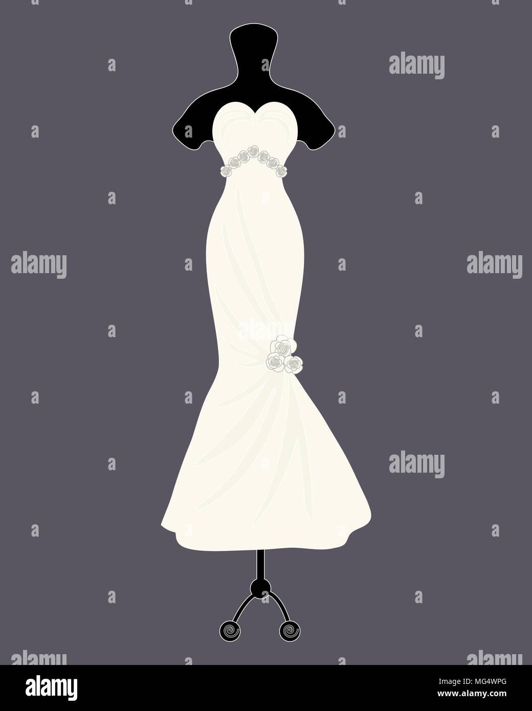 Un'illustrazione di un designer di Bellissimo abito da sposa in uno stile a campana con decorazione di rosa su sfondo grigio scuro Immagini Stock