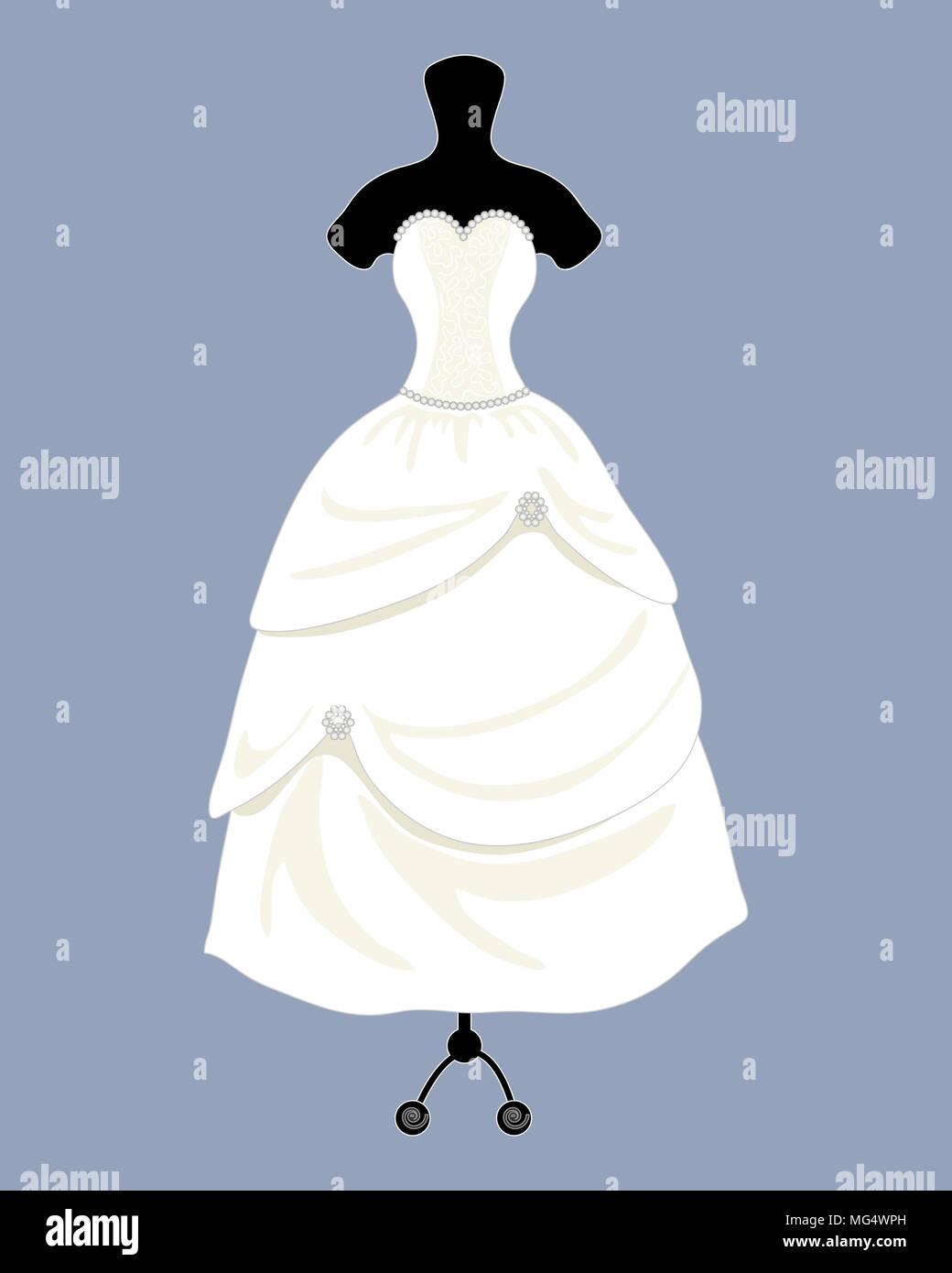 Una illustrazione di un designer di Bellissimo abito da sposa in una bella palla abito stile con un mantello completo su uno sfondo blu Immagini Stock