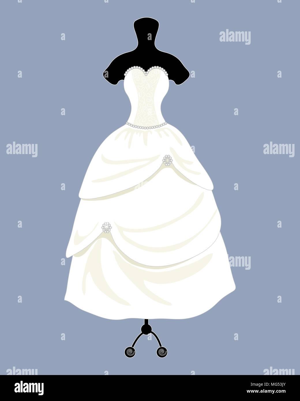 Una illustrazione vettoriale in formato eps 10 formato di un designer di Bellissimo abito da sposa in una bella palla abito stile con un mantello completo su uno sfondo blu Immagini Stock
