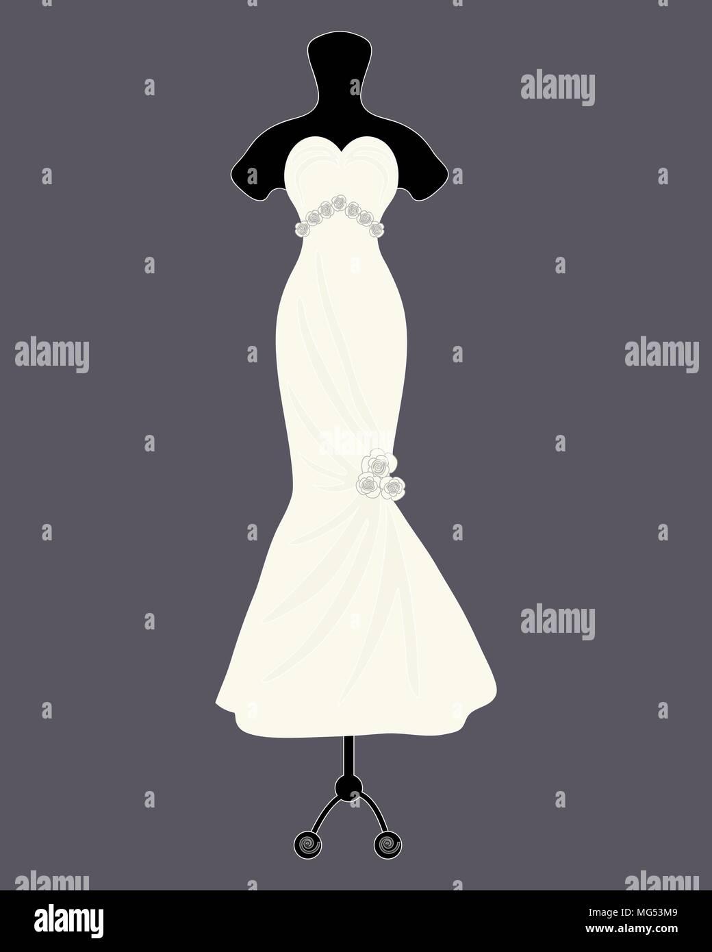 Una illustrazione vettoriale in formato eps 8 formato di un designer di Bellissimo abito da sposa in uno stile a campana con decorazione di rosa su sfondo grigio scuro Immagini Stock