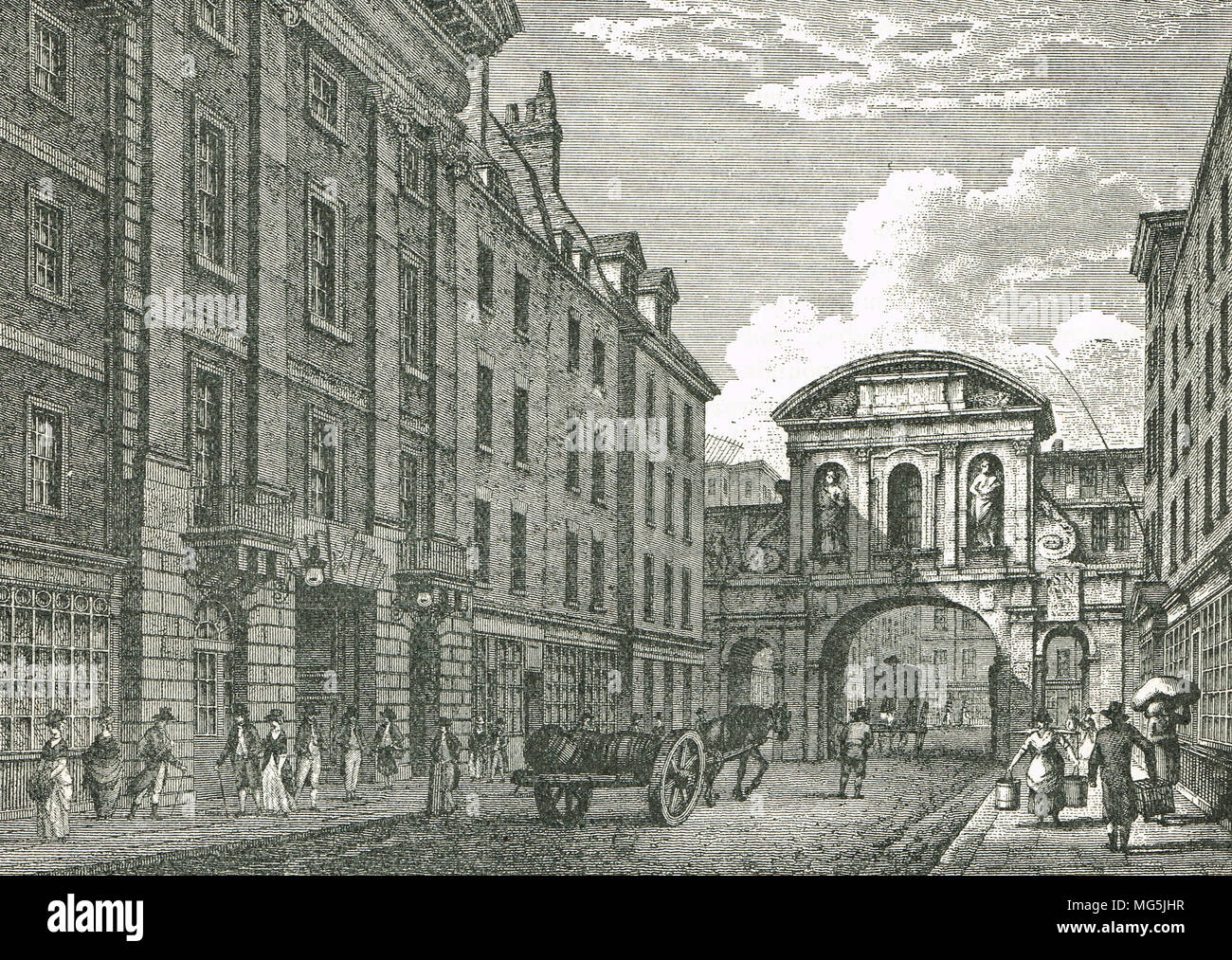 Temple Bar, Londra, Inghilterra in 1800 Immagini Stock