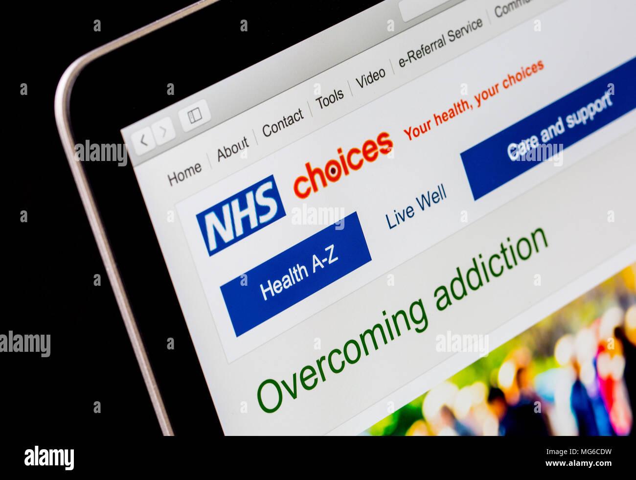 Scelte di NHS sito web su un computer portatile Immagini Stock