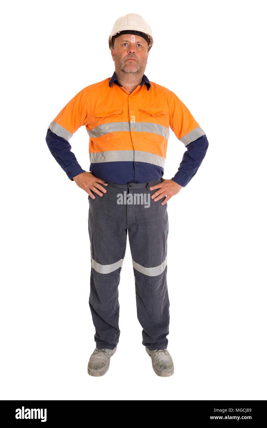 Una lunghezza completa immagine di un vero e proprio lavoratore isolato su bianco. Immagini Stock