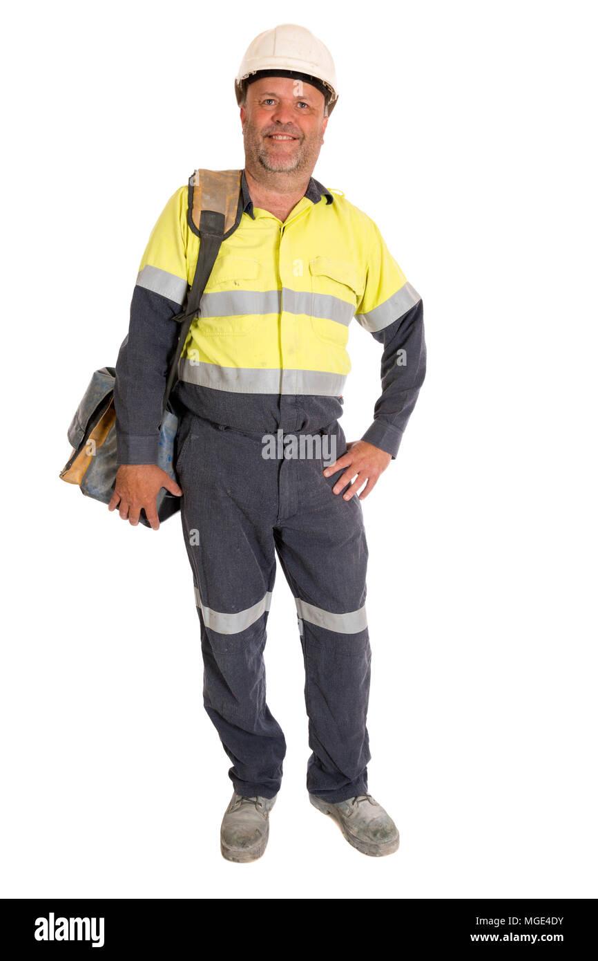 Un informale rappresentare da un operaio industriale tenendo i suoi strumenti. Immagini Stock