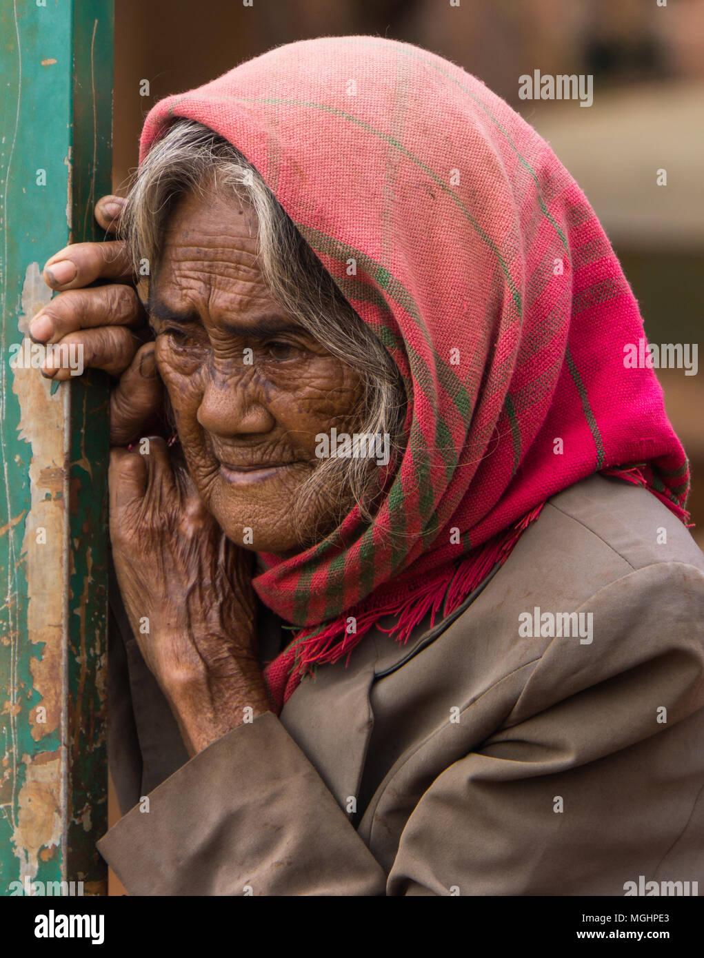Il vietnamita hill tribe village donna in piedi da recinzione Immagini Stock