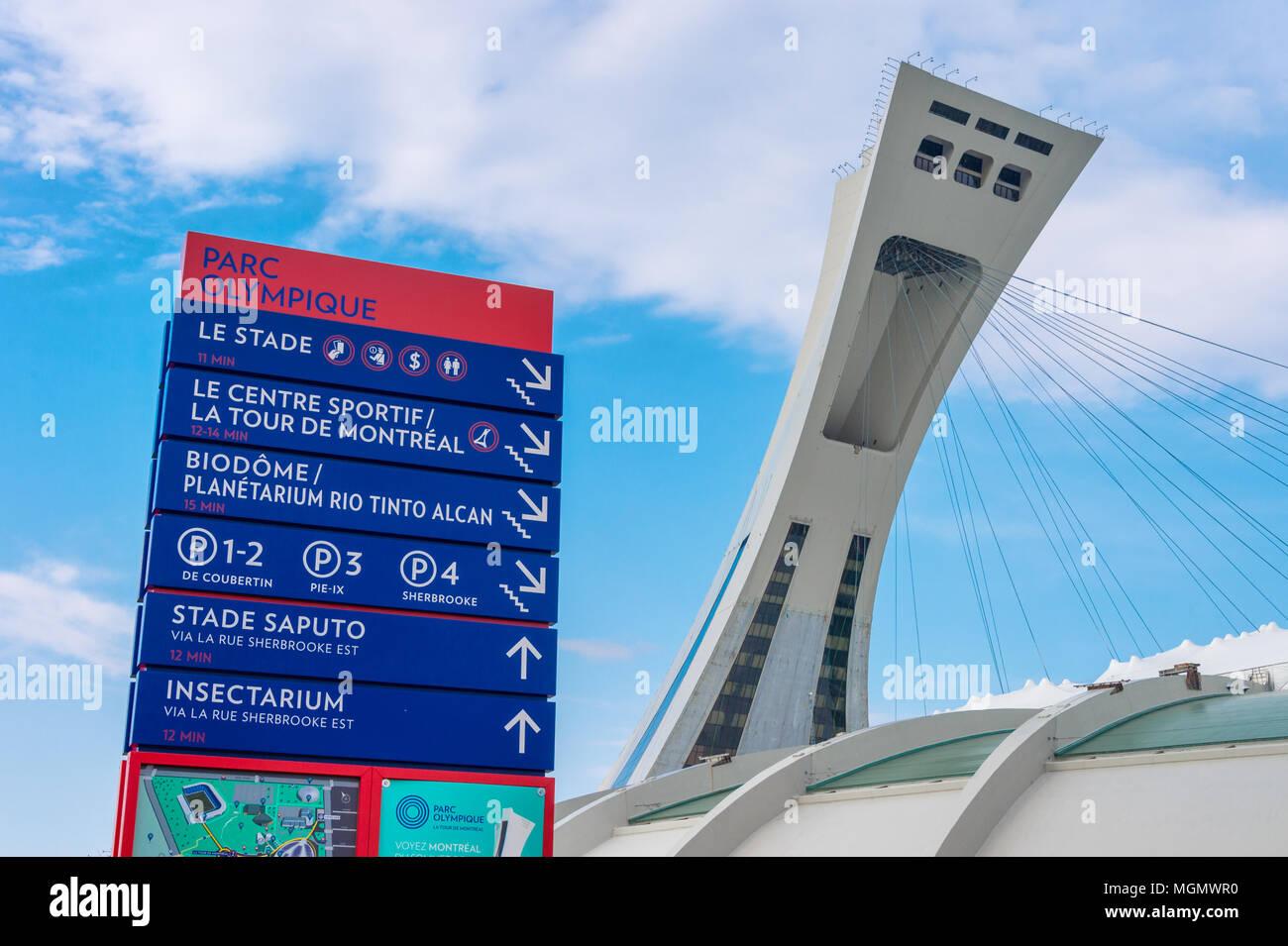 Montreal, CA - 28 Aprile 2018: Il Montreal Olympic Stadium e Torre inclinata. Immagini Stock