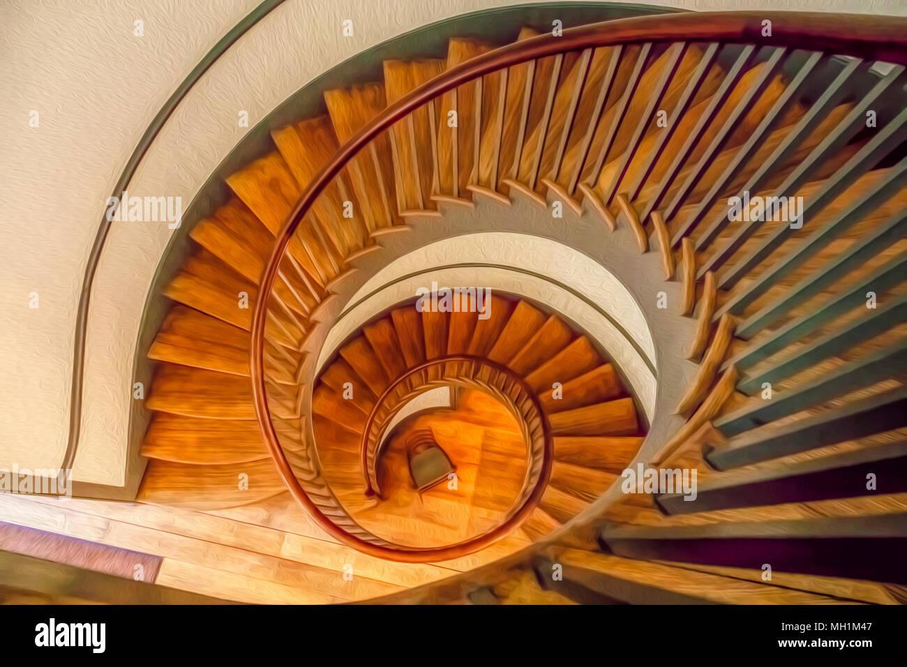 Vista superiore del legno vintage scalinata a spirale, con digital dipinto a olio per effetto Immagini Stock