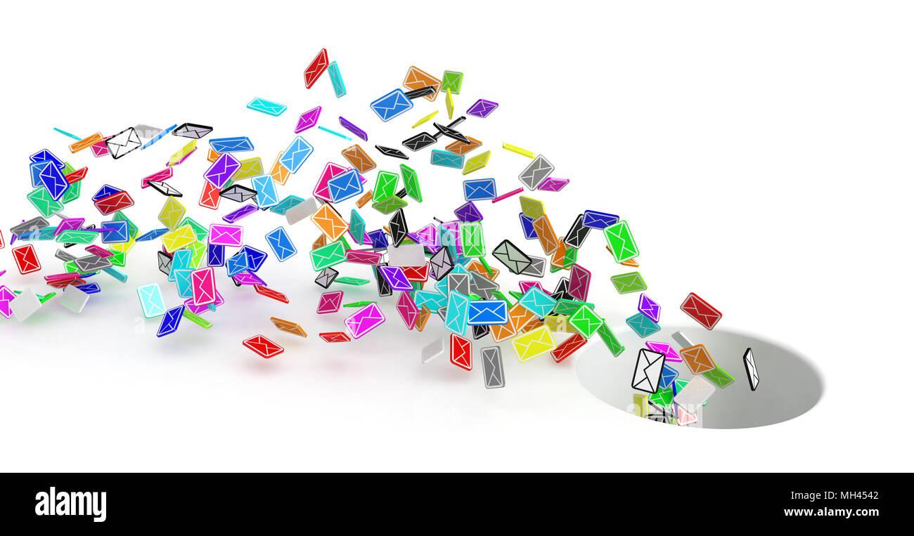 Molti piccoli 3d messaggio di posta elettronica i simboli, isolato Immagini Stock