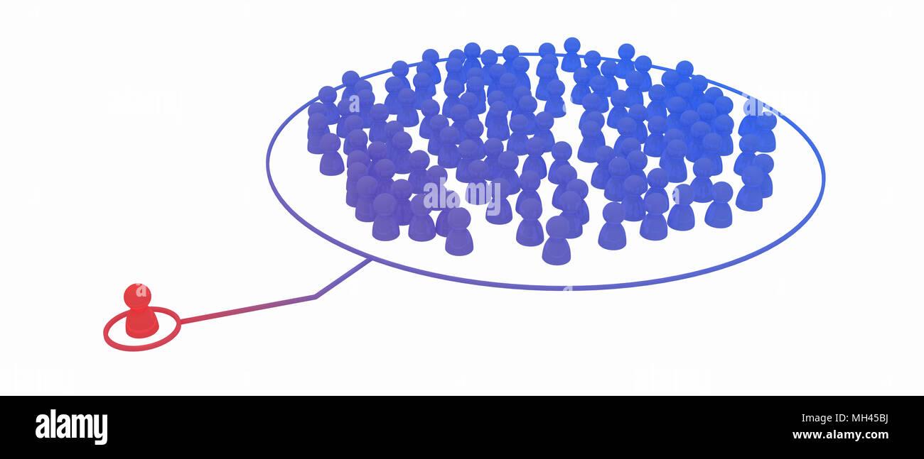 La Folla di simbolico di piccole figure 3d, isolato Immagini Stock