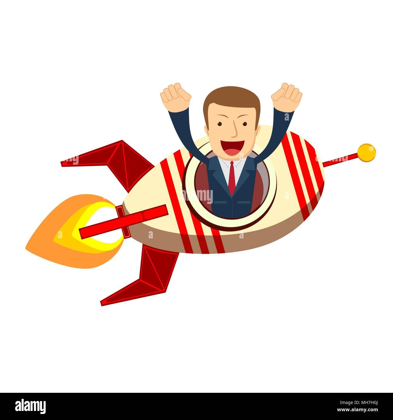 Happy businessman su un razzo lancio Immagini Stock