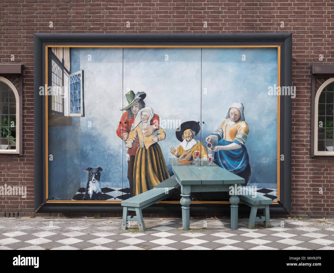 Illustrazione di una casa in IJzendijke chiamato 'aan tafel' fatta da Joost Heeren e Tijl clemente. Immagini Stock