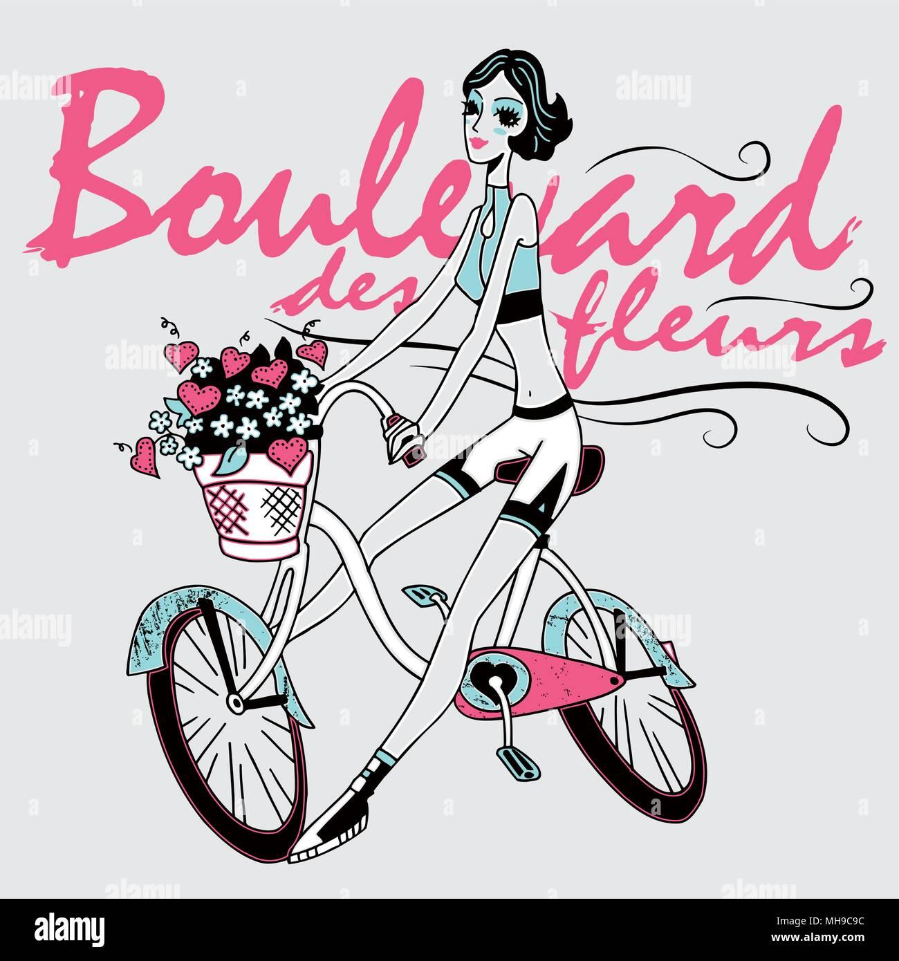 Ragazza Bicicletta Equitazione Fiori E Cuori Nel Cestello Moderno