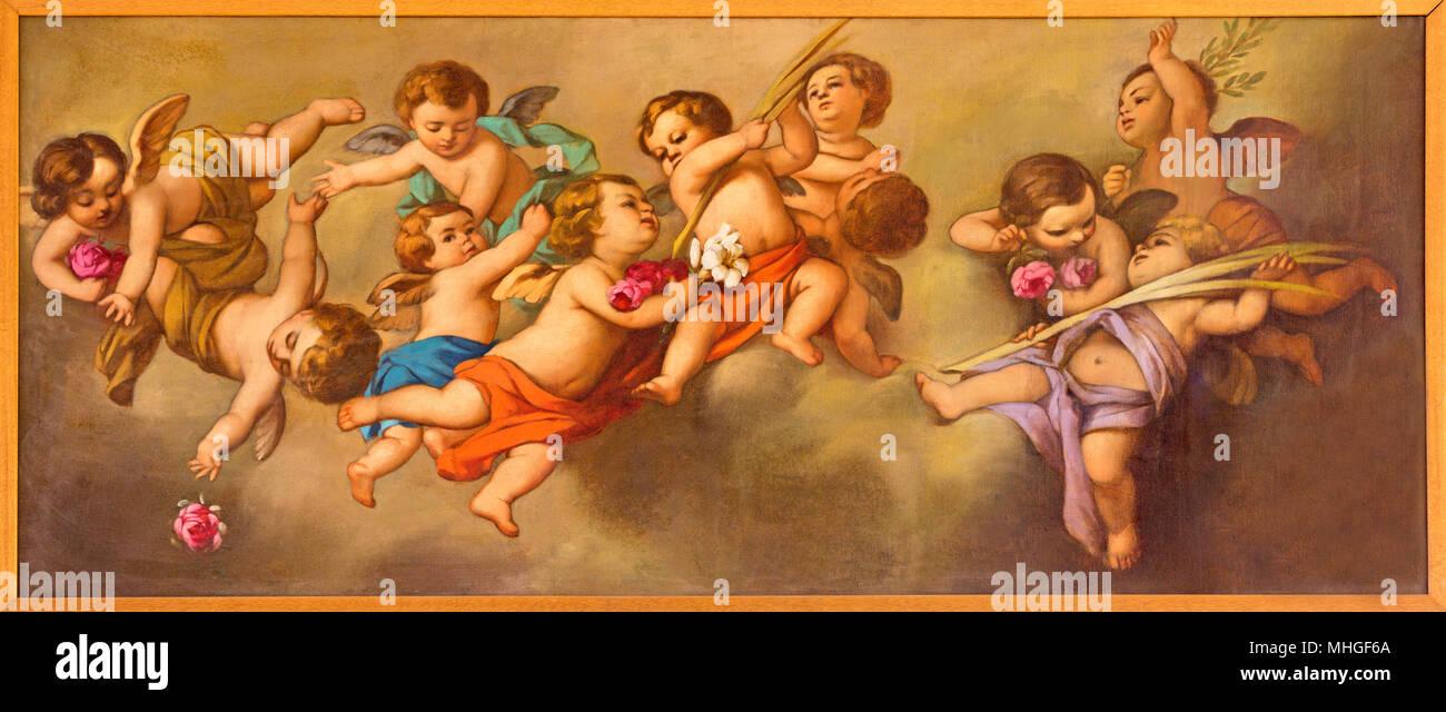REGGIO EMILIA, Italia - 12 Aprile 2018: La pittura degli angeli nella Chiesa dei Cappuchini da Padre Angelico da Villarotta. (1900 - 1987). Immagini Stock