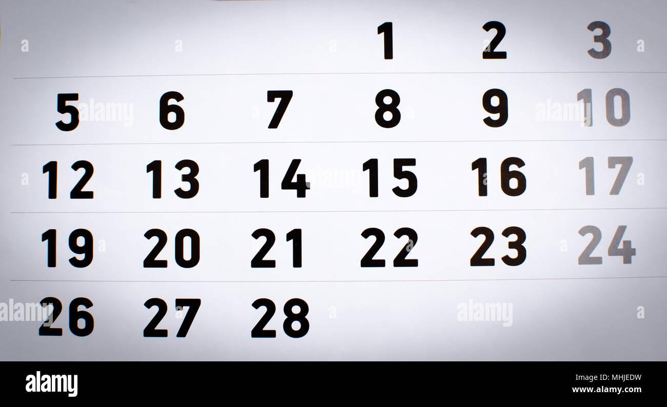 Calendario Solo Numeri.Calendario Mensile Immagini Calendario Mensile Fotos Stock