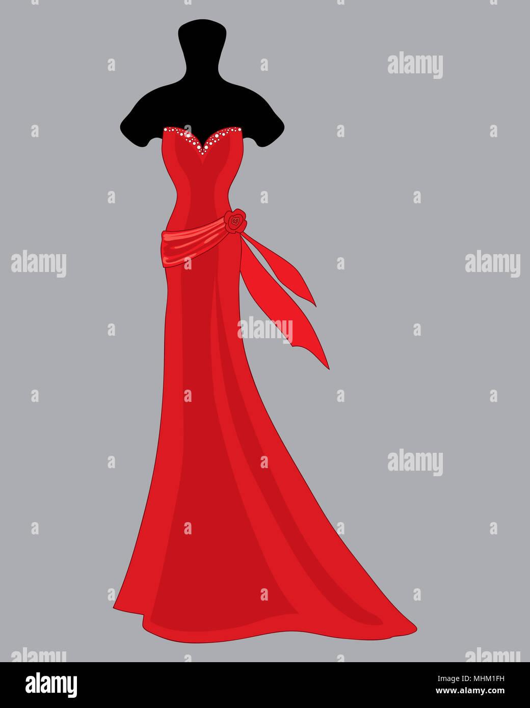 Una illustrazione di un bellissimo il progettista Red abito da sposa con jeweled sweetheart scollatura e anta con decorazione di rosa su sfondo grigio Immagini Stock