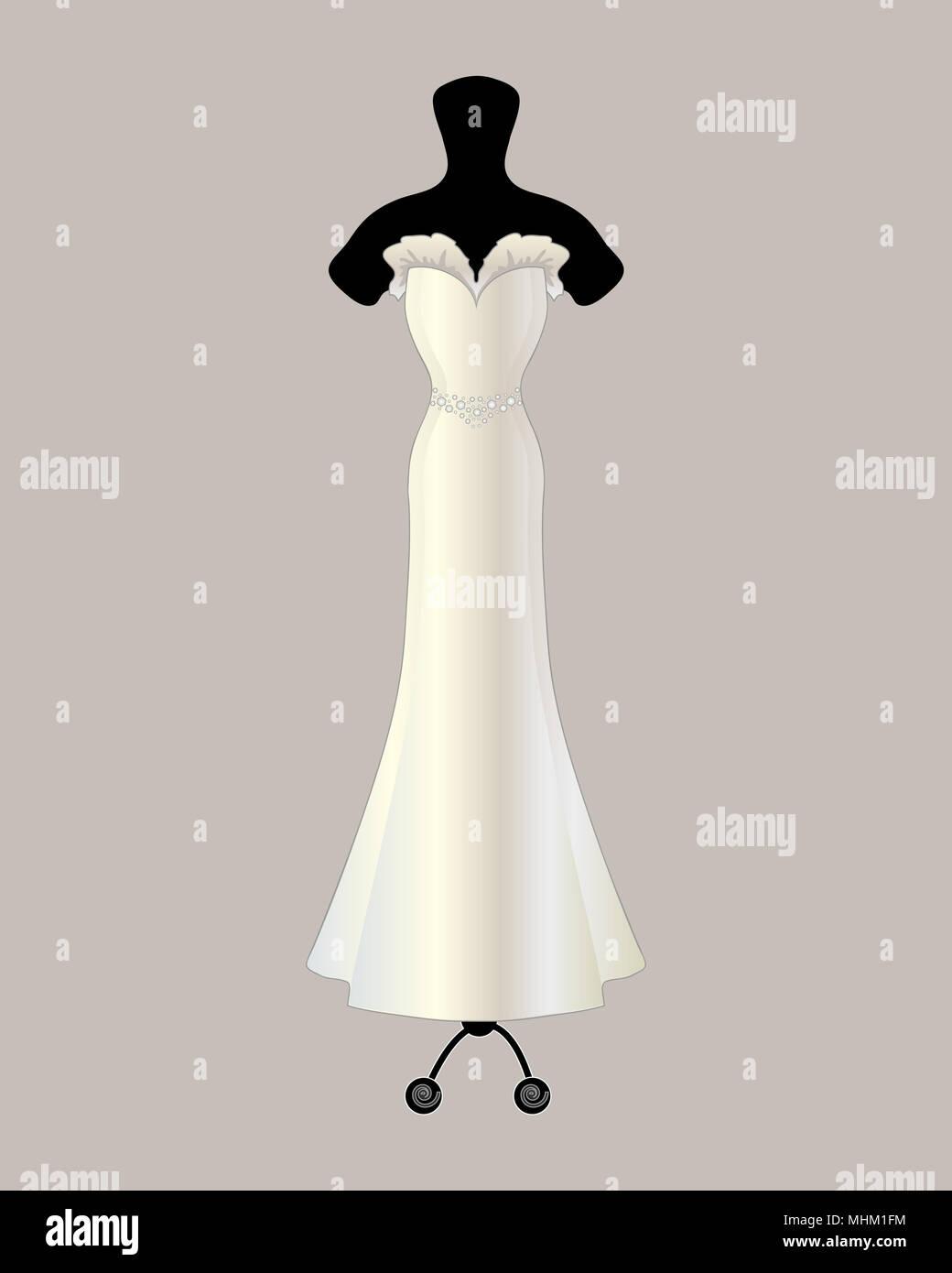 Una illustrazione di un bellissimo designer satin abito da sposa in una tromba di stile con volant e dettaglio jeweled cinghia su uno sfondo grigio Immagini Stock