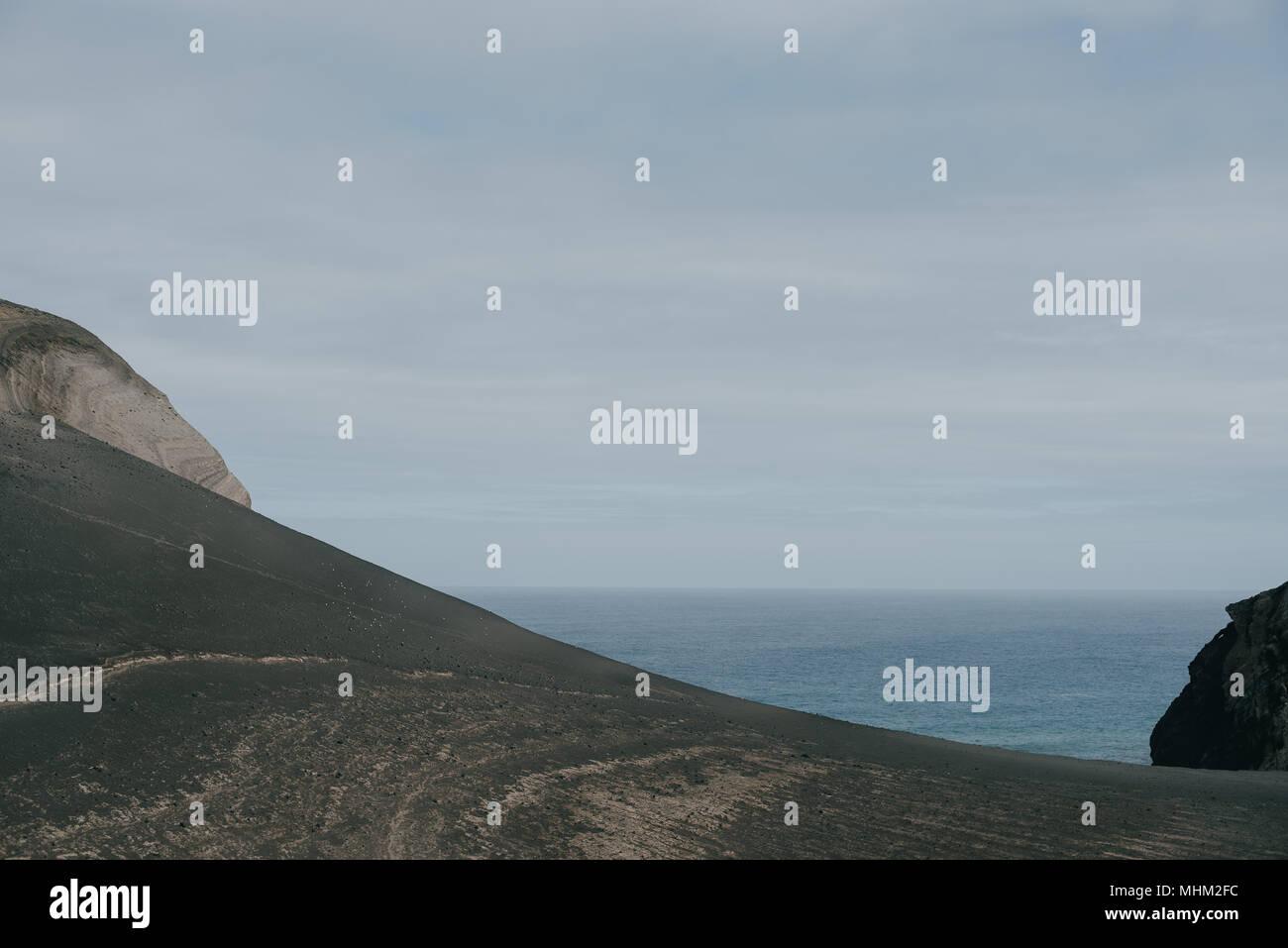 Capelinhos sull isola di Faial, Azzorre Immagini Stock