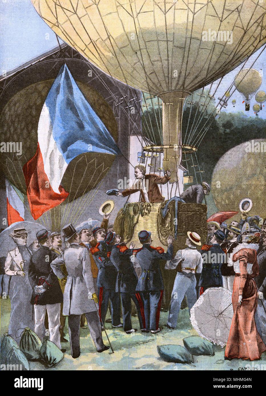 Un palloncino al rally di Vincennes, nella periferia di Parigi. Data: 1900 Immagini Stock