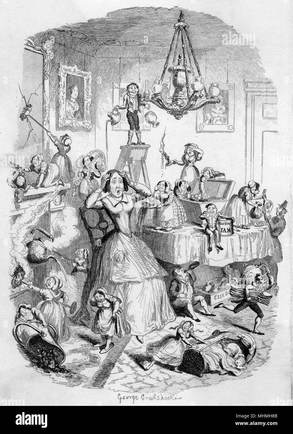 La padrona di casa è sconcertata dal aggravations, tribolazioni, vessazioni e le irritazioni causate dai suoi servi... Data: 1849 Immagini Stock