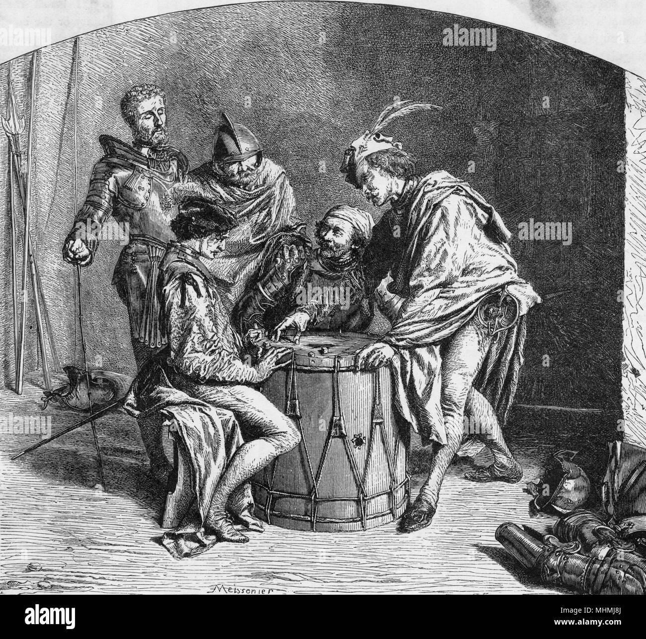 Soldati giocare ai dadi, utilizzando un tamburo di grandi dimensioni come la loro tabella Data: XIX secolo Immagini Stock
