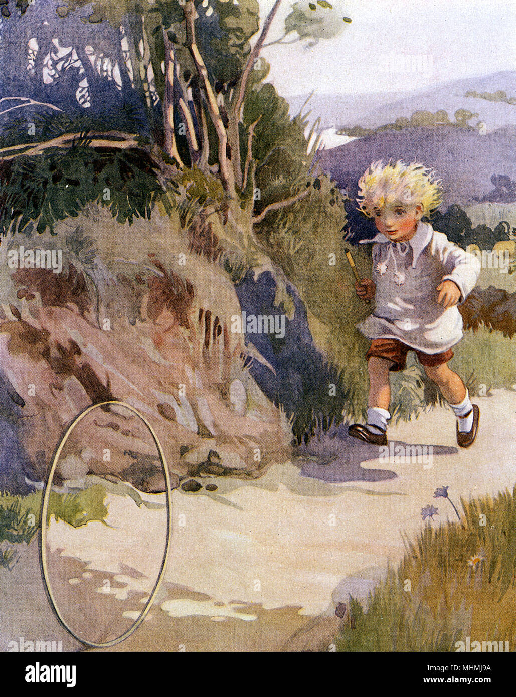 Il Runaway hoop Data: tardo XIX secolo Immagini Stock