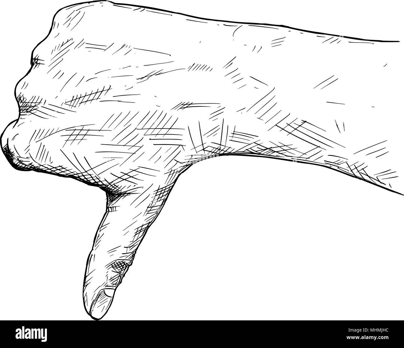 Vettore illustrazione artistica o disegno di pollice giù il gesto a mano Immagini Stock