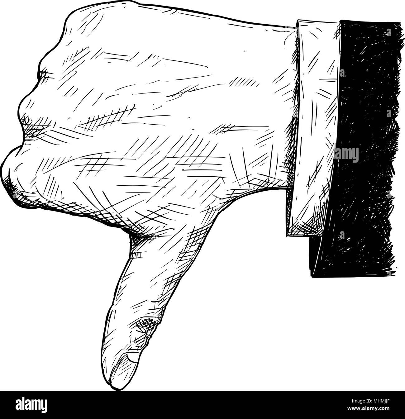 Vettore illustrazione artistica o disegno di pollice giù imprenditore mano nella tuta gesto Immagini Stock