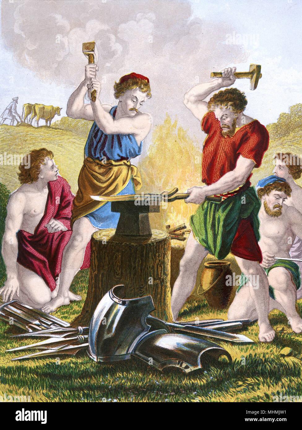 Due smiths battere le spade in vomeri, che sono molto più utili Data: nel 1860 circa Immagini Stock