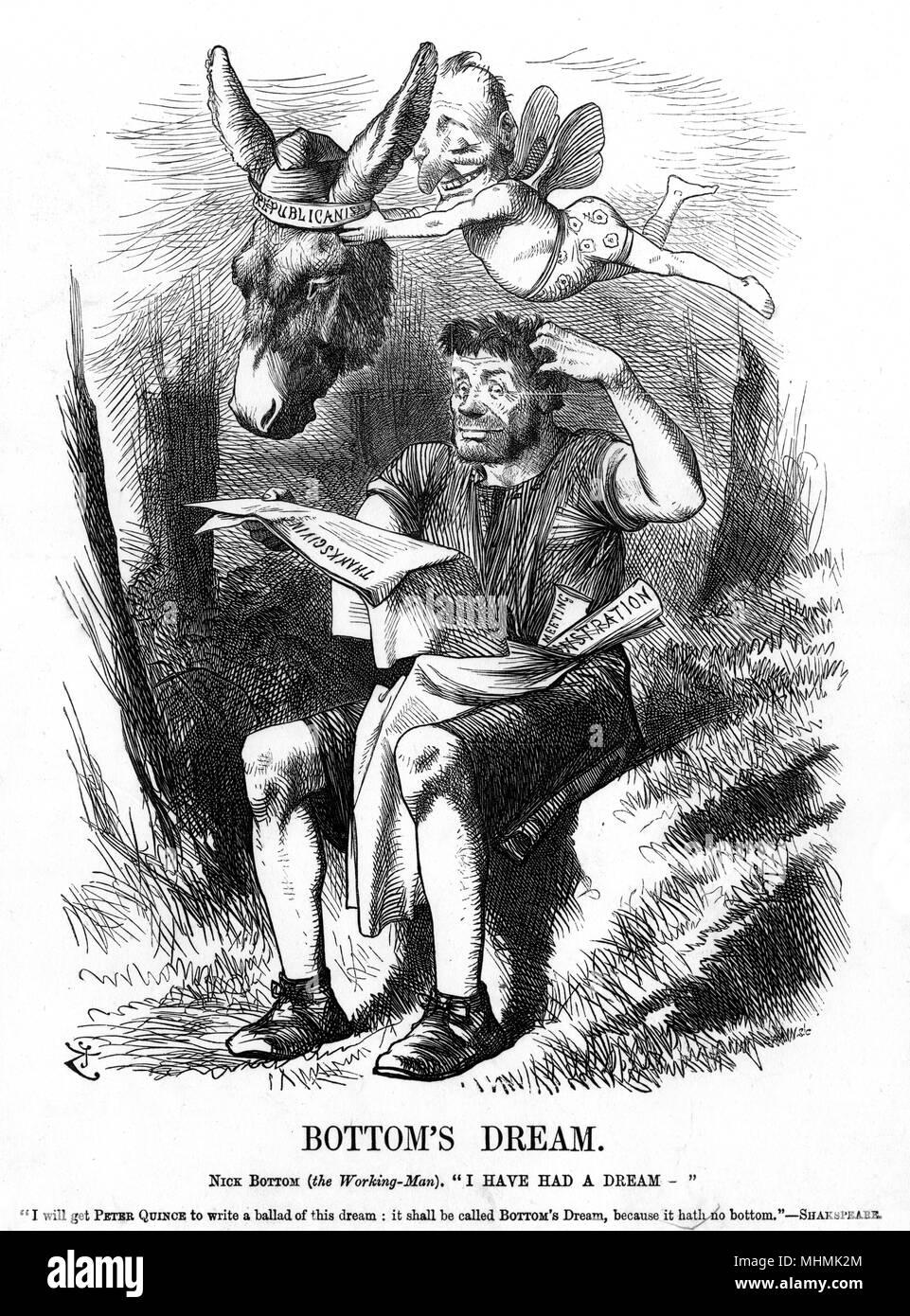 """Fondo di sogno del Nick fondo (la lavorazione-l'uomo): """"Ho un sogno."""". [riceverò Pietro mela cotogna per scrivere una ballata di questo sogno """" Fondo sogno dell' perché non ha nessun fondo!] Data: Marzo 1872 Immagini Stock"""