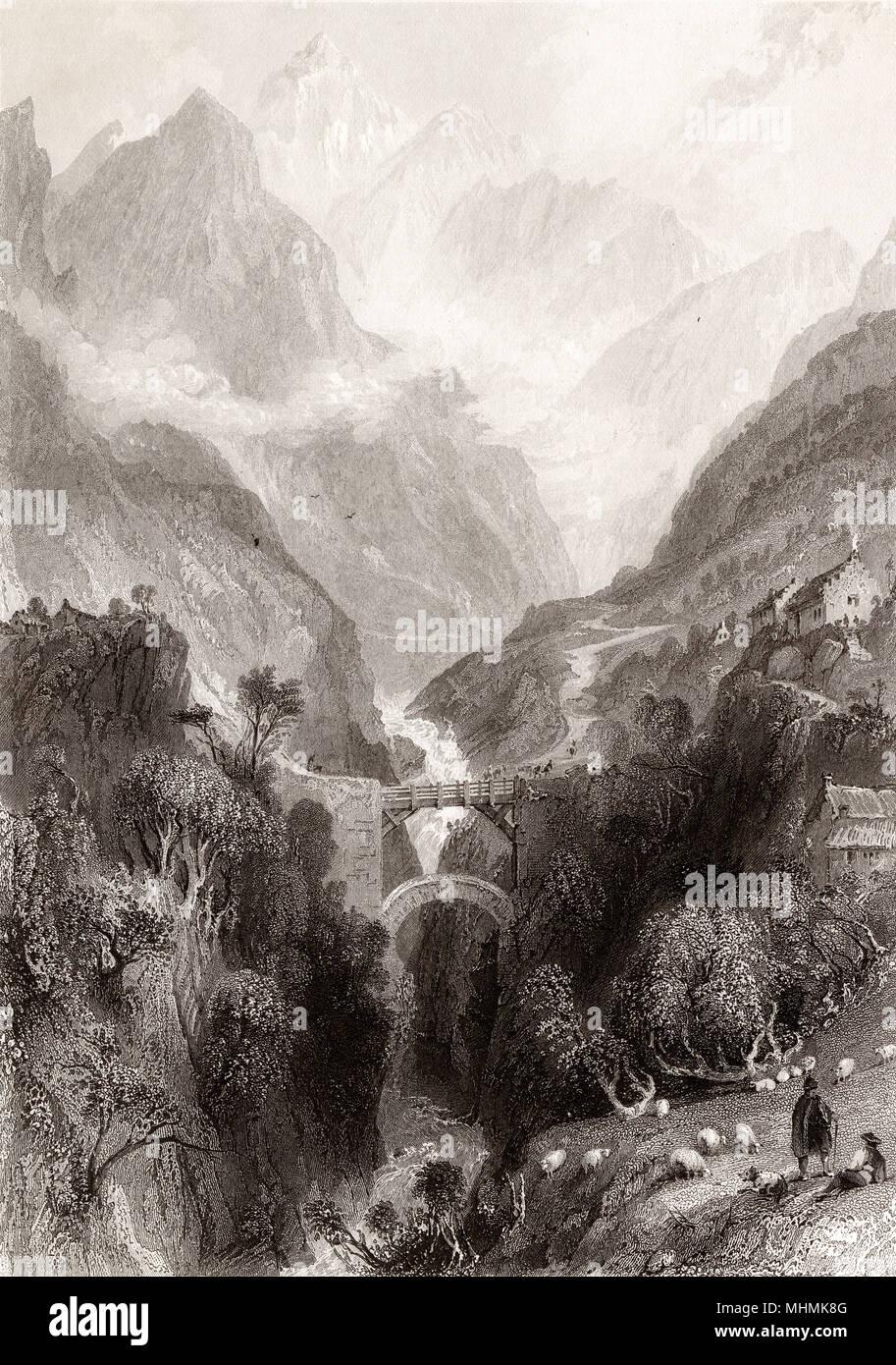 Pirenei: doppio ponte di scia e la valle del Gave de Gavarnie Data: circa 1835 Immagini Stock