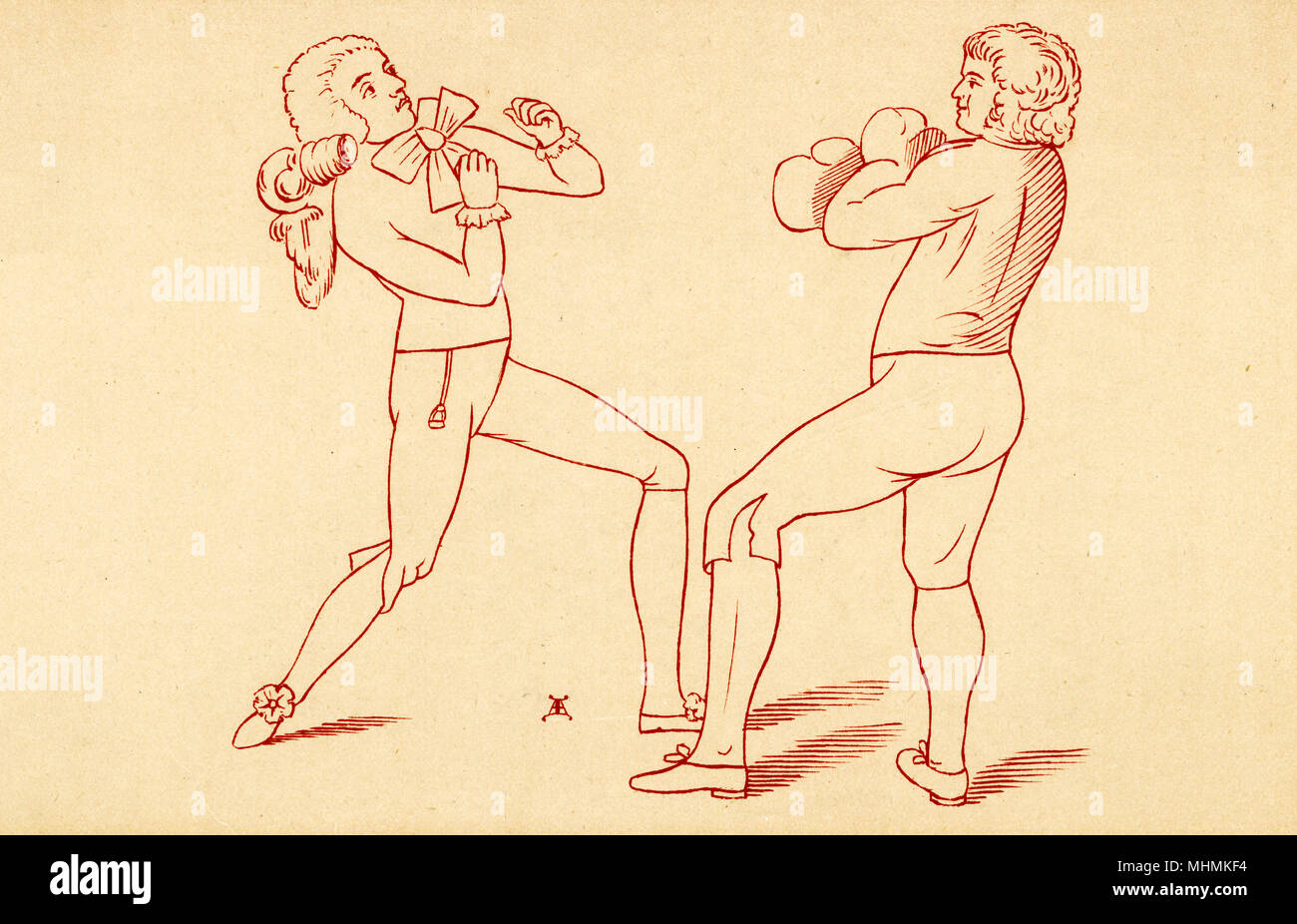 """Boxing made easy, o Humphreys dando una lezione' data: 1788 Immagini Stock"