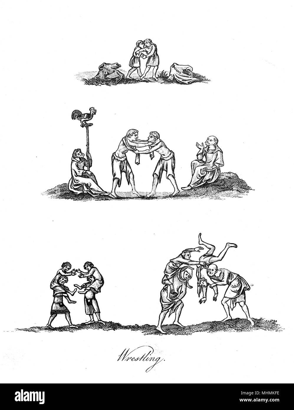 Diverse sono le tecniche utilizzate nel borgo medievale di wrestling. Data: XIV secolo Immagini Stock
