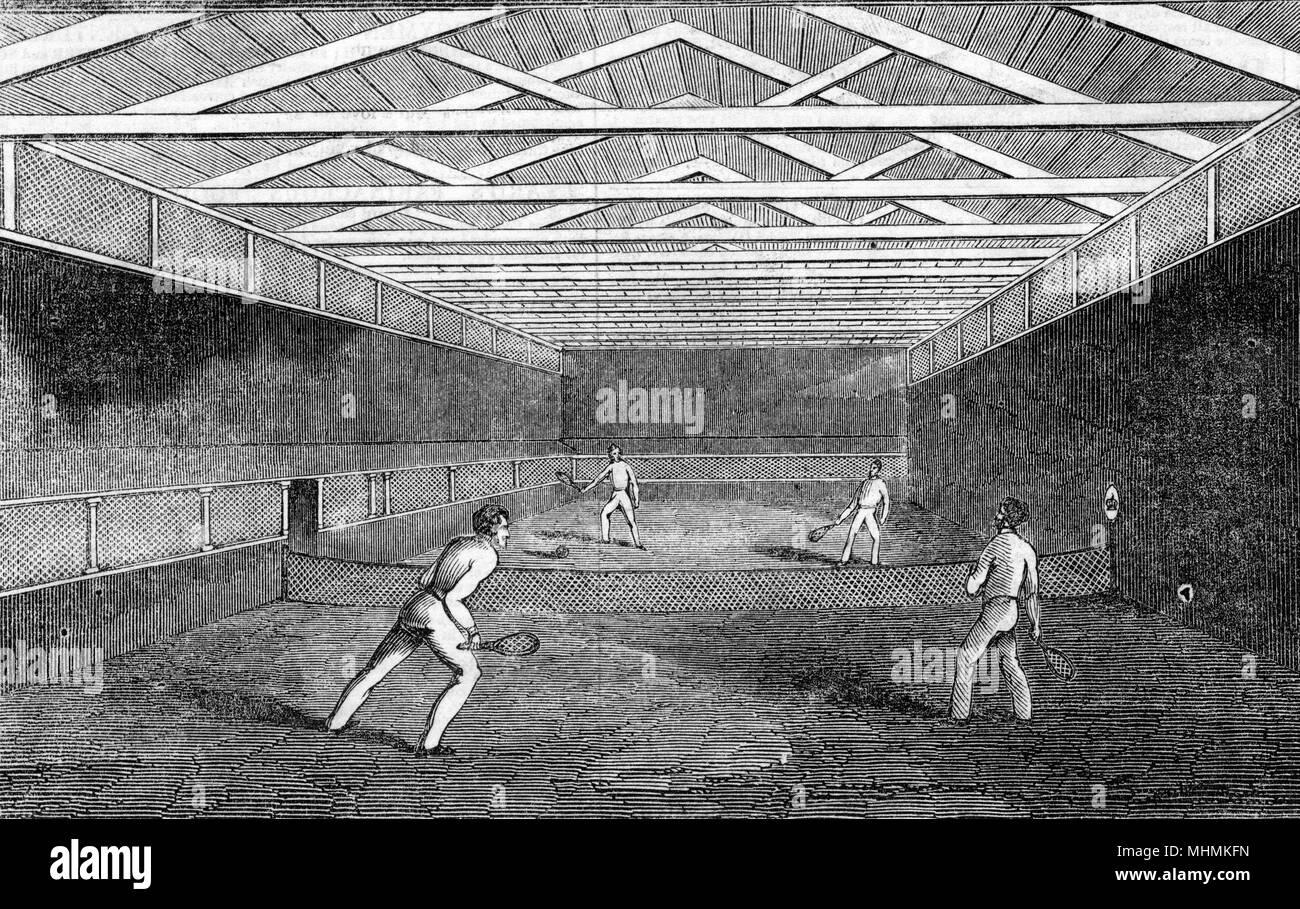 Al Palazzo di Strathfieldsaye in Scozia, vero e proprio campo da tennis è svolto dal principe Albert. Data: 1845 Immagini Stock