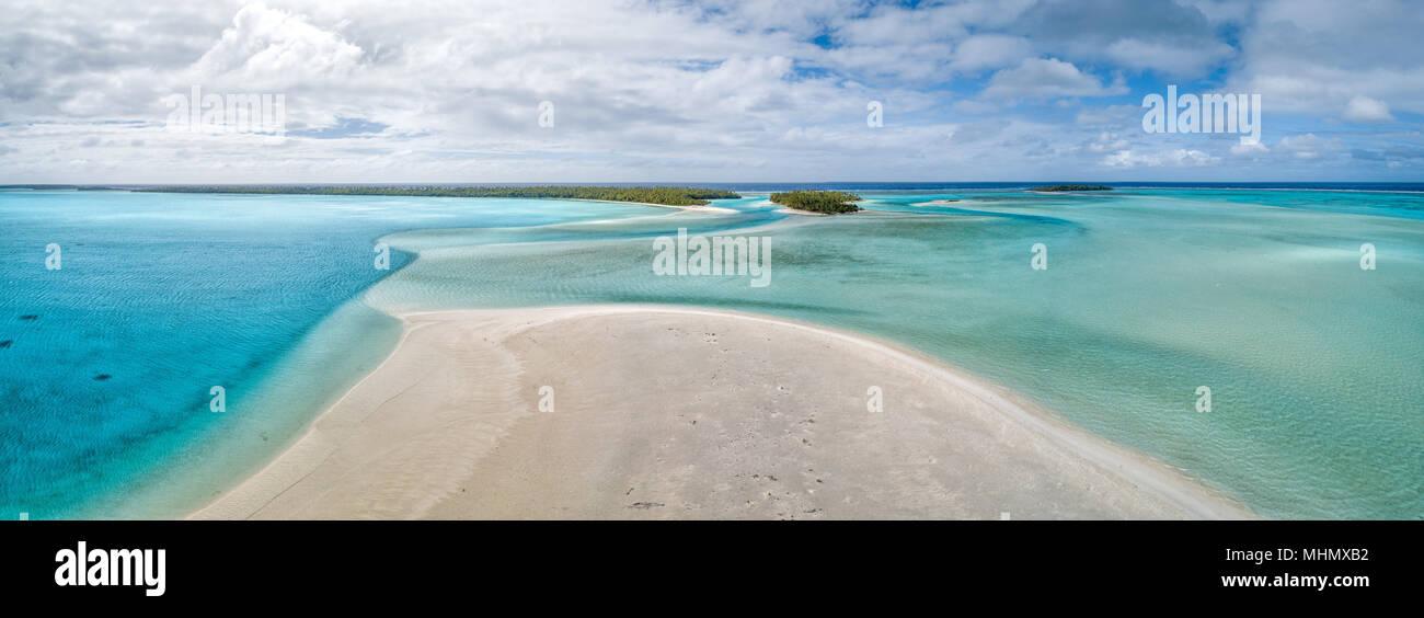 Polinesia Aitutaki Isole Cook paradiso tropicale vista paesaggio panorama Immagini Stock