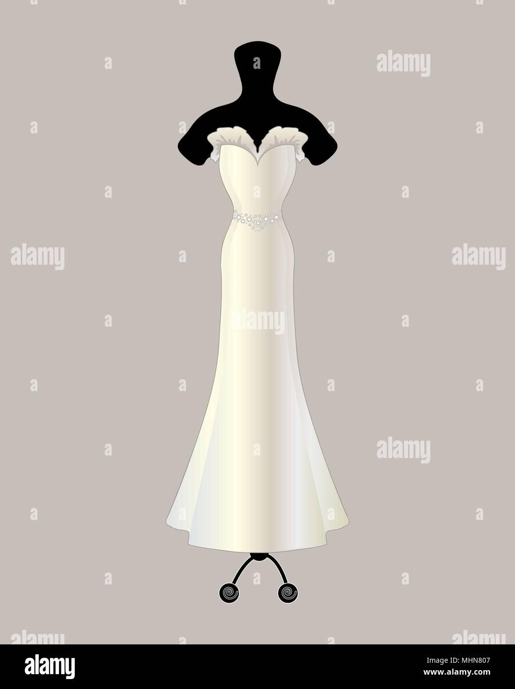 Una illustrazione vettoriale in formato eps formato 10 di un bellissimo designer satin abito da sposa in una tromba di stile con volant e dettaglio jeweled cinghia Immagini Stock
