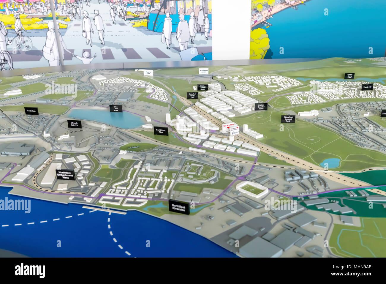 I piani di layout e modello di Ebbsfleet garden city Immagini Stock
