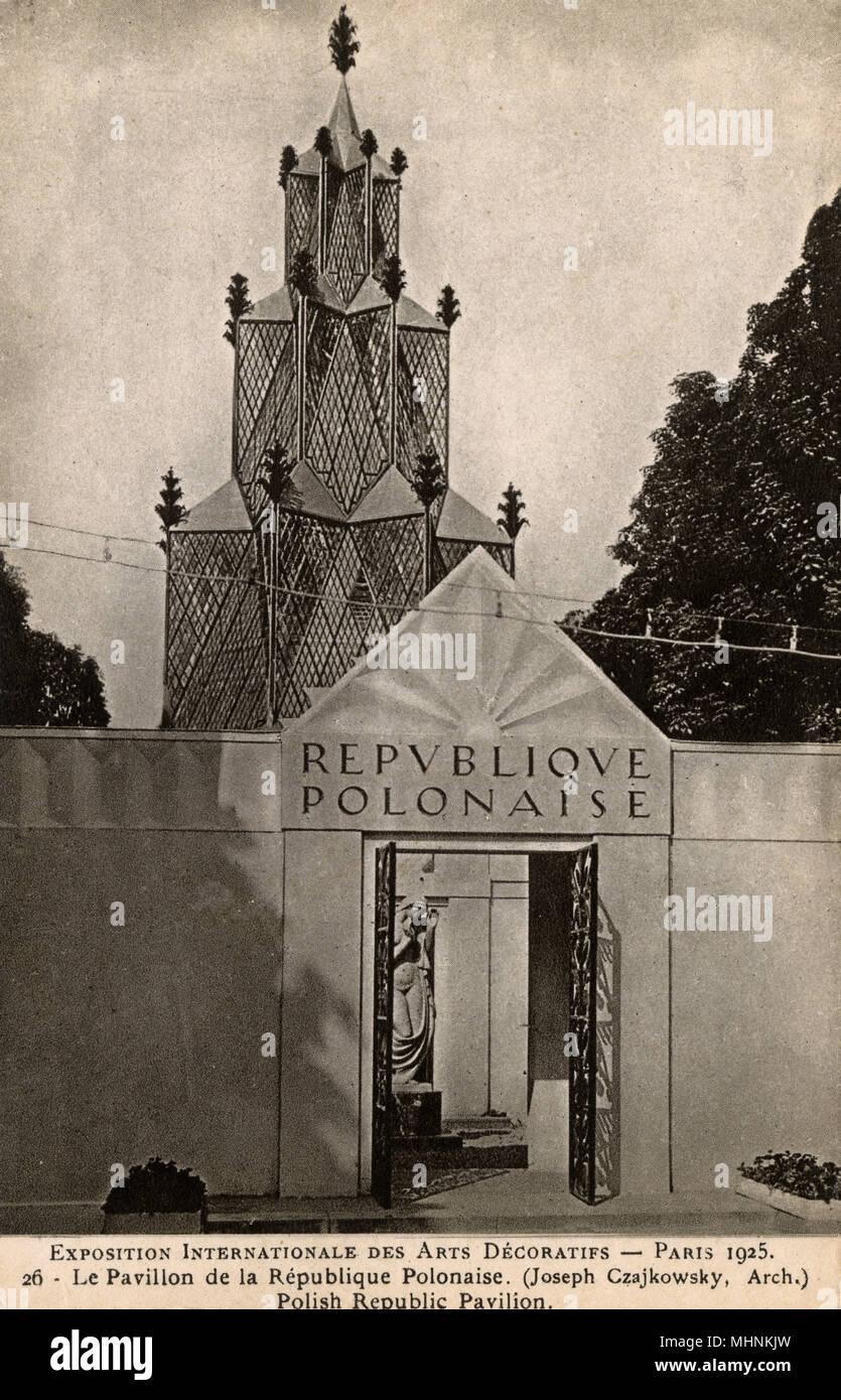 Esposizione internazionale di arti decorative - Parigi. La Repubblica Polacca Pavilion - progettato da Giuseppe Czajkowsky. Data: 1925 Immagini Stock
