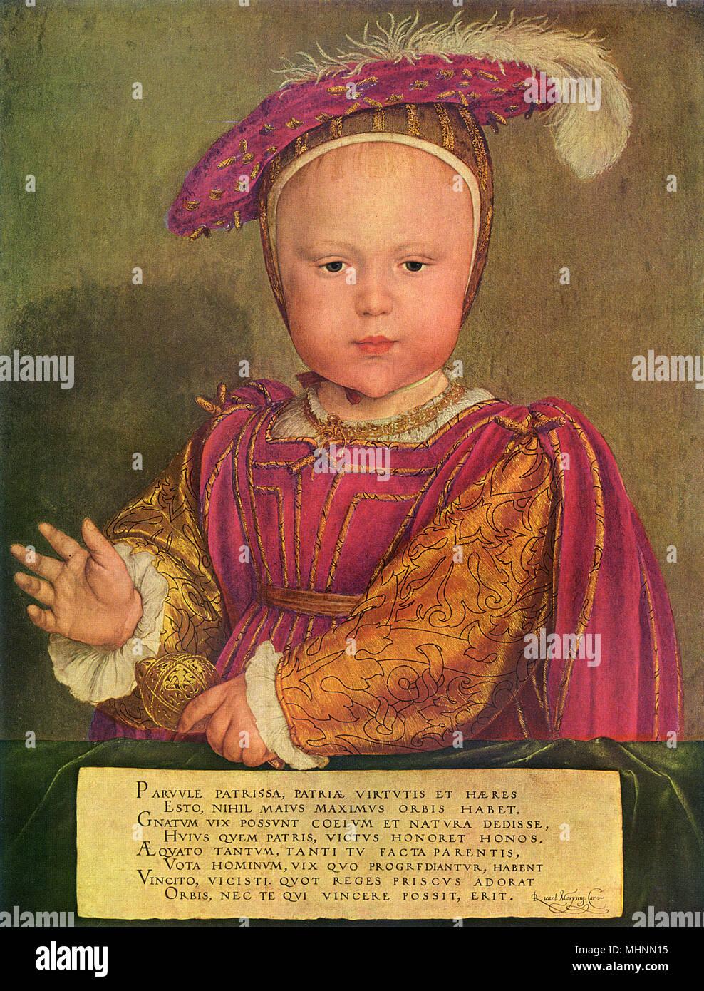 Edward VI (1537-1553) come un bambino, da Hans Holbein il Giovane, 1538, tedesco/inglese pittura, olio su pannello. Tudor Re Enrico VIII figlio ed erede dal suo matrimonio con Jane Seymour, come da un anno un bambino. Edward detiene un sonaglio come se si trattasse di un monarca scettro del. Data: 1538 Immagini Stock