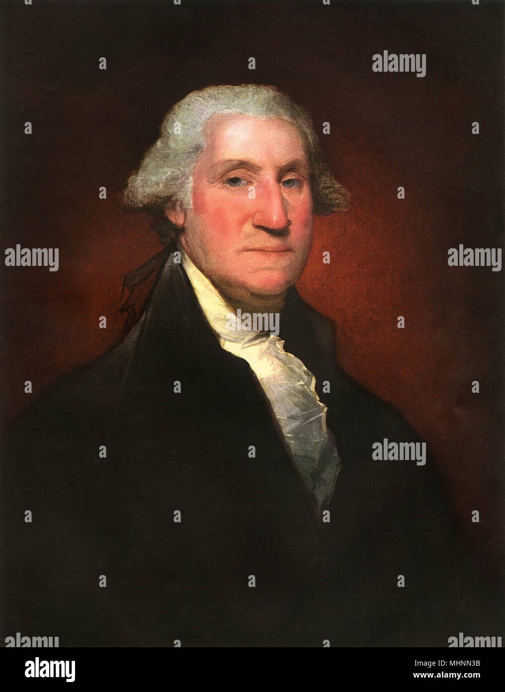 George Washington (1732-1799), da Gilbert Stuart (1755-1828) - pittura a olio su tela. Data: 1795 Immagini Stock