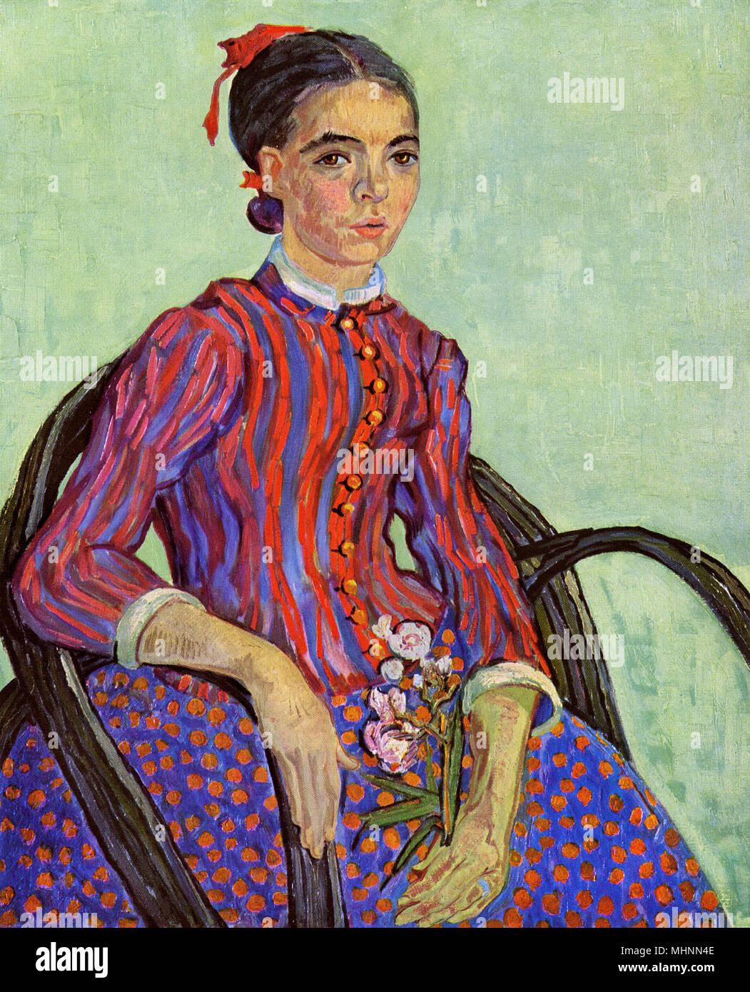 La Mousme (anche: La Mousme seduto in una sedia di canna, Half-Figure (con un ramo di oleandro) di Vincent Van Gogh (1853-1890) - pittura a olio su tela. Data: 1888 Immagini Stock